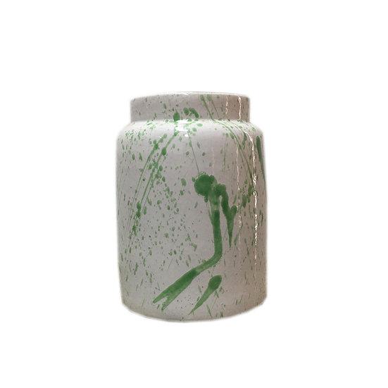 Short White & Green Abstract Ceramic Vase
