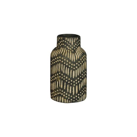 Black & Tan Waves Ceramic Vase