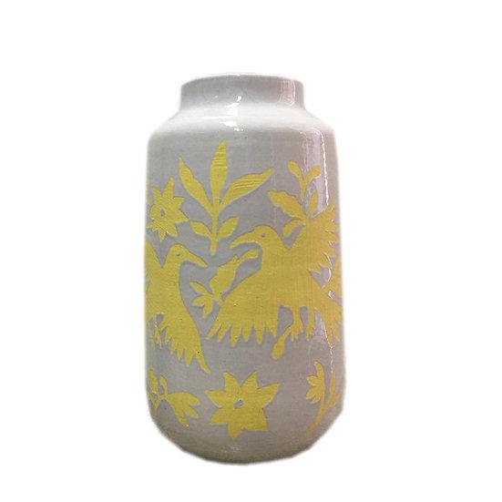 Bird Nature Ceramic Vase (Yellow)