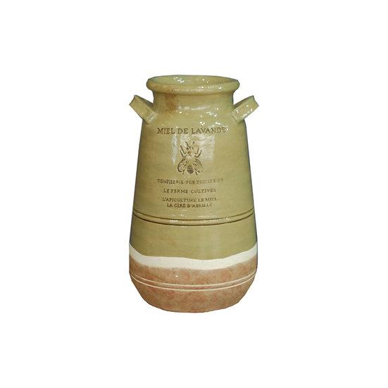 Brown & Tan Grooves Ceramic Vase