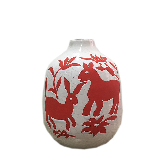 Short Nature Ceramic Vase (Red)
