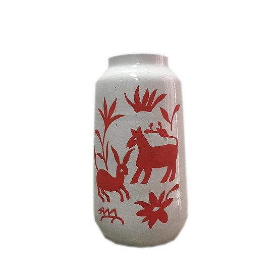 Bird Nature Ceramic Vase (Red)