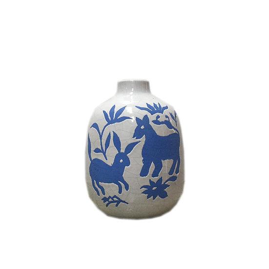 Short Nature Ceramic Vase (Blue)