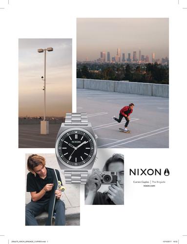 Página de publicidad de Nixon en GQ, 2017