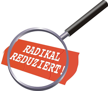 "Aufkleber ""radikal reduziert"""