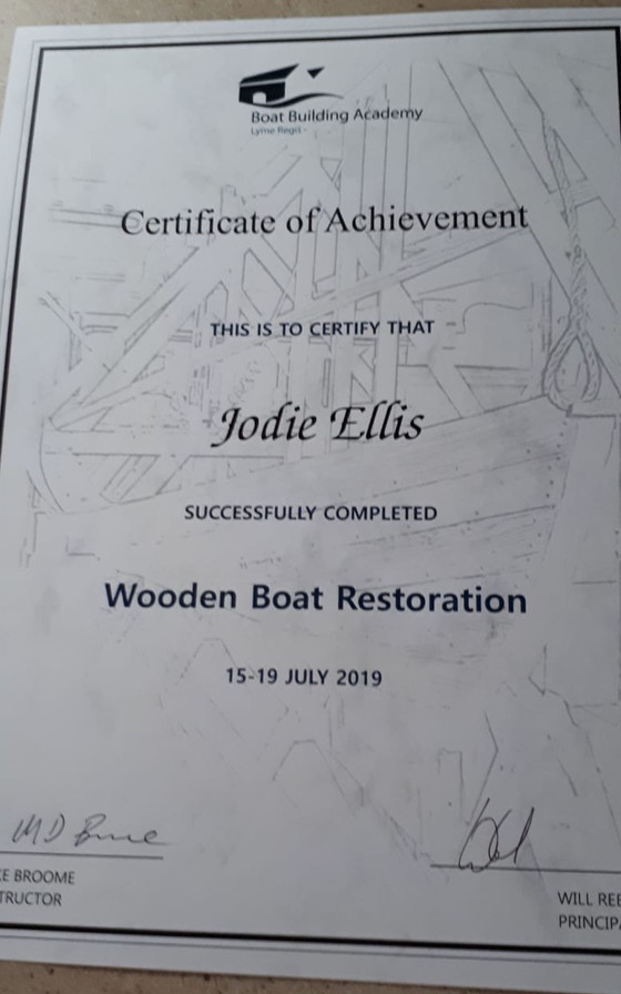 Newly qualified boat-builder