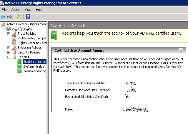 Keeping track of AD RMS License usage