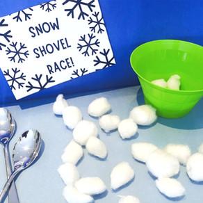 Cotton Ball Snow Shovelling