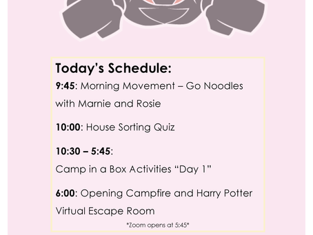 Camp-at-Home Schedule: Day One