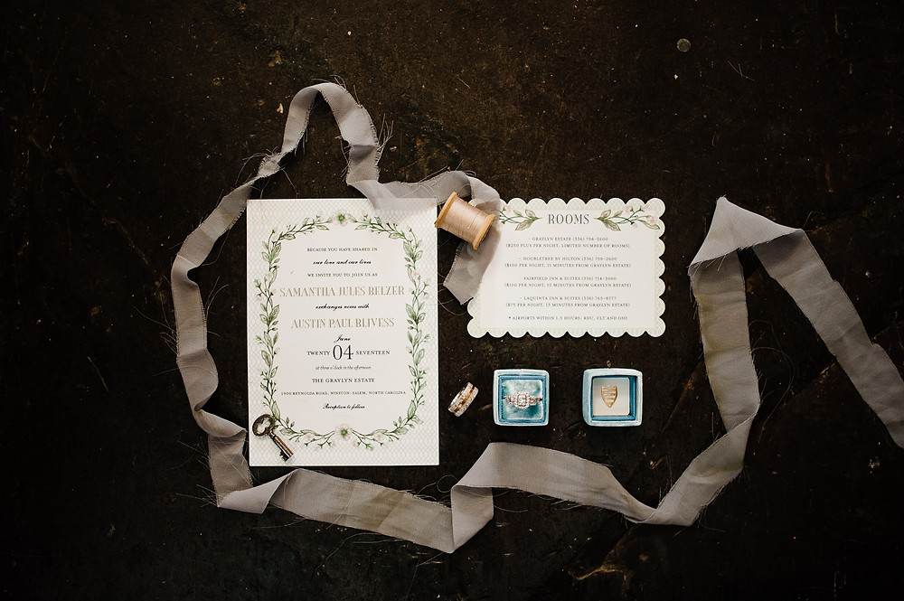 Flat lay invitation suite for wedding.