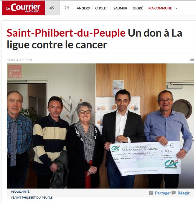 Un don à La Ligue contre le Cancer