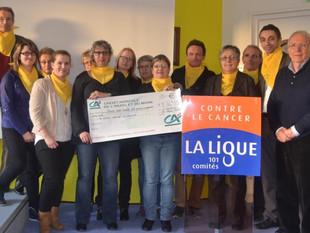 Remise d'un don de 236,55 euros à La Ligue contre le Cancer