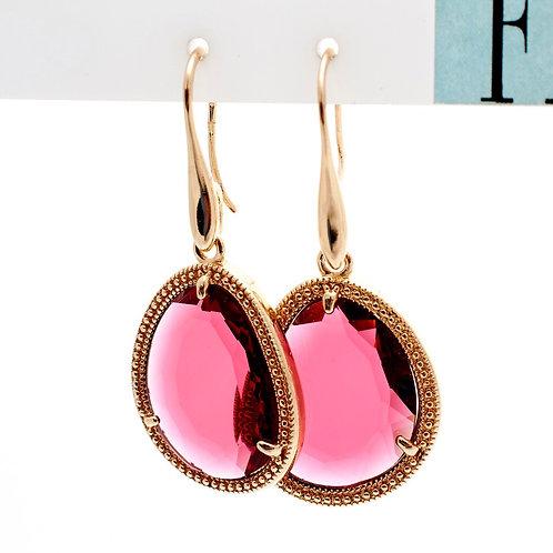 Fe7816 Εντυπωσιακά σκουλαρίκια με φούξια πέτρα