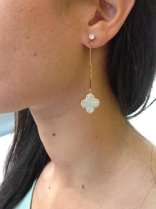 Fe7477 Λεπτά και εντυπωσιακά σκουλαρίκια με κρυσταλλάκια