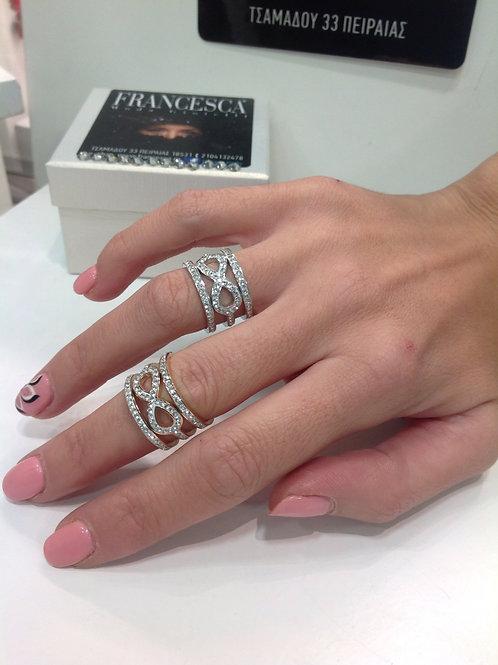Fr7853 Εντυπωσιακό δαχτυλίδι άπειρο,για όλα τα δάχτυλα,σε επάργυρο & rose gold