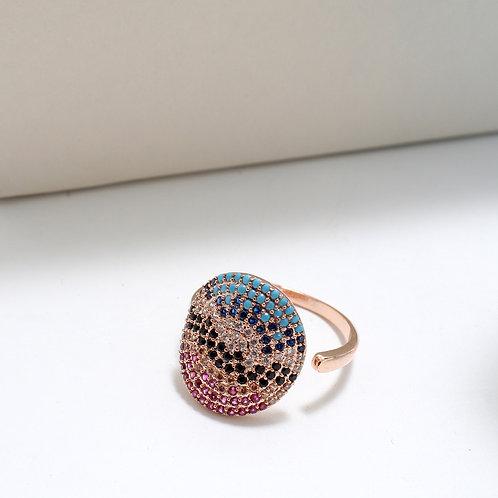 Fr7543 Επίχρυσο δαχτυλίδι με χρωματιστές πέτρες σε απόχρωση rose gold