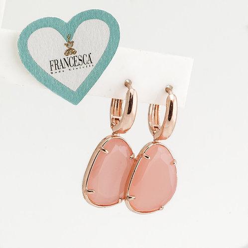 Fe8143 Όμορφα και μοδάτα σκουλαρίκια,με κρίκο και ροζ πέτρα