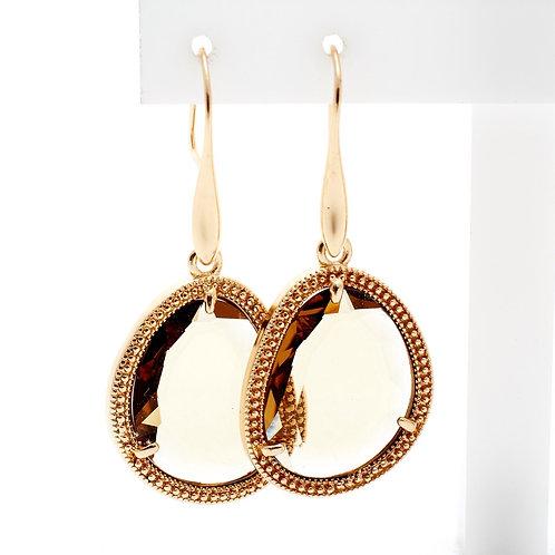 Fe7818 Εντυπωσιακά σκουλαρίκια με μελί πέτρα