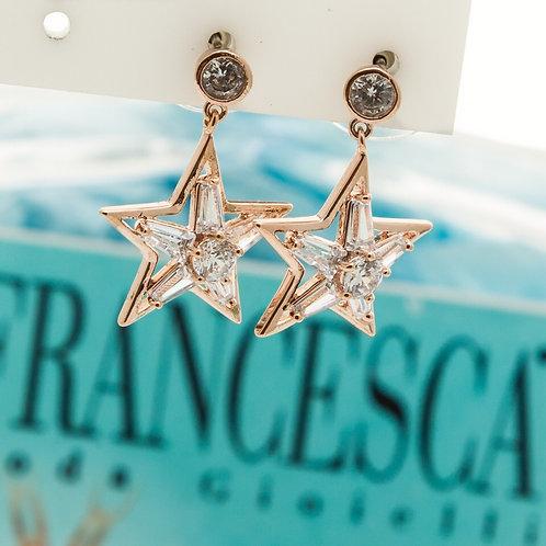 Fe7649 Κρυστάλλινα σκουλαρίκια αστεράκια,σε ροζ χρυσό!