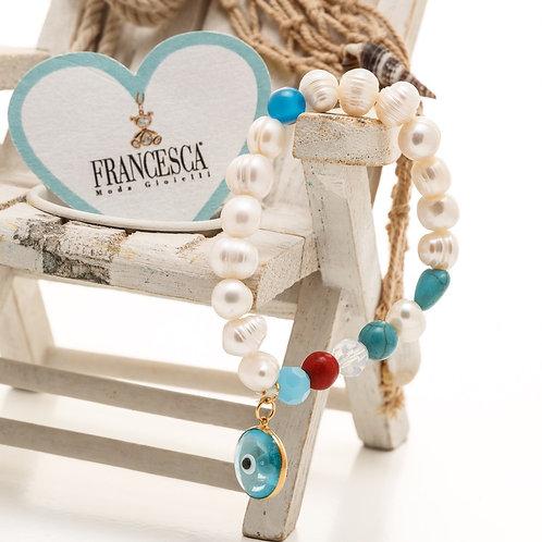 Fb7558 ελαστικό βραχιόλι με μαργαριτάρι, κοράλι,τυρκουάζ& υπέροχο μάτι