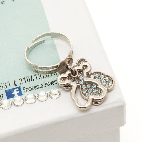 FR7811 Πρωτότυπο δαχτυλίδι με charms & γαλάζια κρυσταλλάκια
