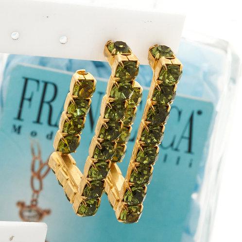 Fe7966 Χειροποίητα σκουλαρίκια κρίκοι σε minimal σχέδιο,με λαδί κρύσταλλα.