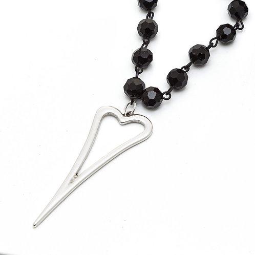 Fn7905 Μακρύ μαύρο rozario,με μεγάλη επάργυρη καρδιά