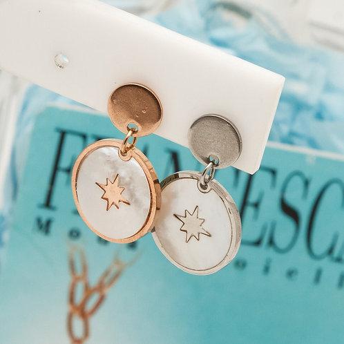 Fe7798 Κρεμαστά σκουλαρίκια,στρογγυλά με αστέρι,σε επάργυρο,&ροζ χρυσό