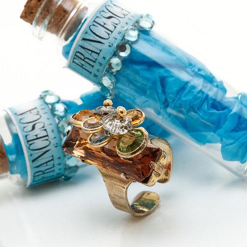 Fr8393 Πρωτότυπο ατσάλινο δαχτυλίδι σε μπρονζέ ,απόχρ,με χρωματιστά κρυσταλλάκια