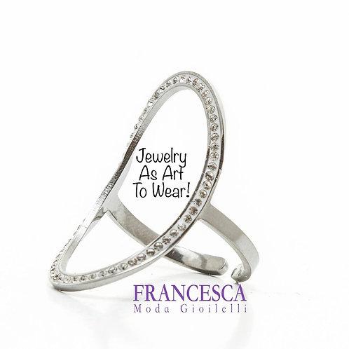 Fr8507 Μοδάτο ατσάλινο δαχτυλίδι σε υπέροχο ελλειπτικό σχήμα.