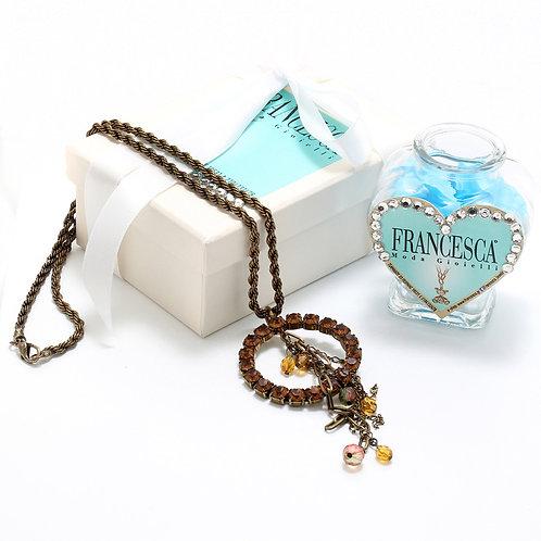 Fn7132 Μακρύ κολιέ αλυσίδα,με καφέ κρύσταλλα & charms