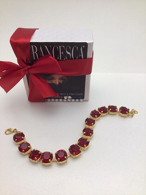 Fb8312 Βραχιόλι με μεγάλα κόκκινα λαμπερά κρύσταλλα,ένα αριστοκρατικό κόσμημα!