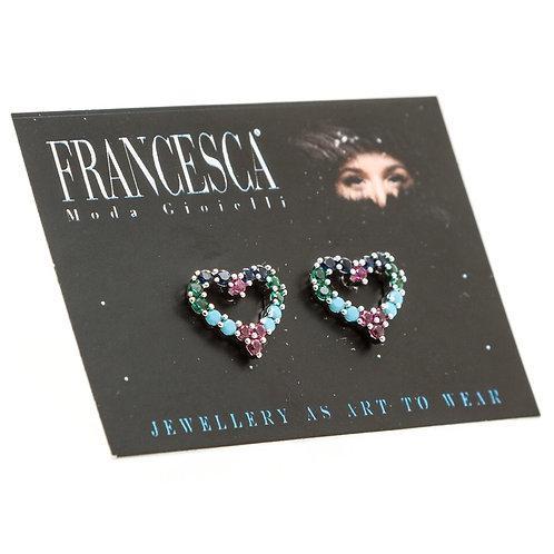 Fe8397 Λεπτά σκουλαρίκια καρδιές,με χρωματιστά κρυσταλλάκια.
