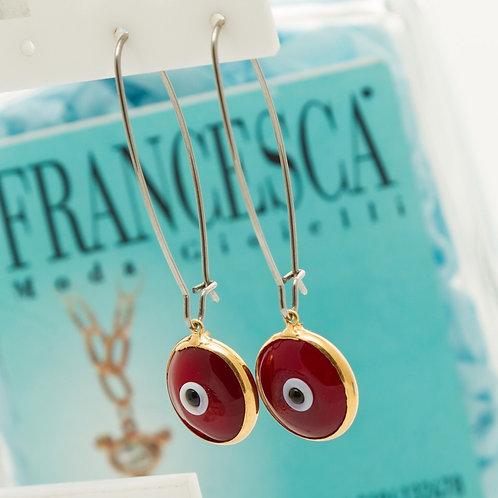 Fe8042 Μοδάτοι μακρόστενοι κρίκοι με κόκκινο μάτι.