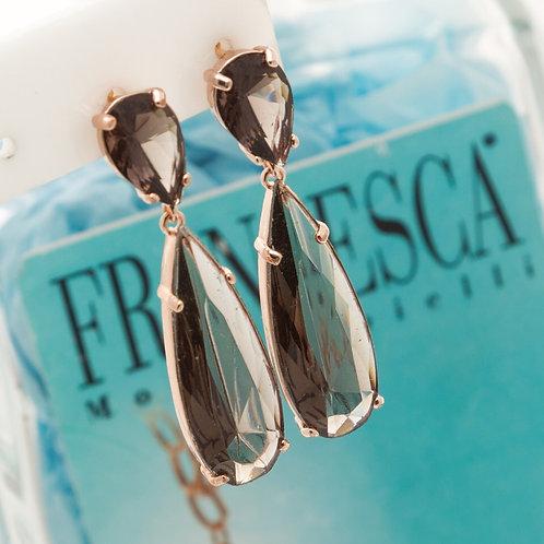 Fe7625 Κρεμαστά σκουλαρίκια με γκρί ανοιχτό χρώμα.