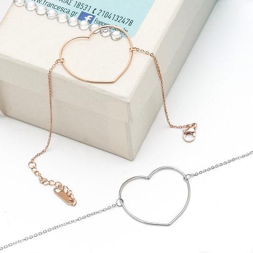 Fb7992 Βραχιόλι με minimal καρδιά,σε επάργυρη και rose gold απόχρωση!