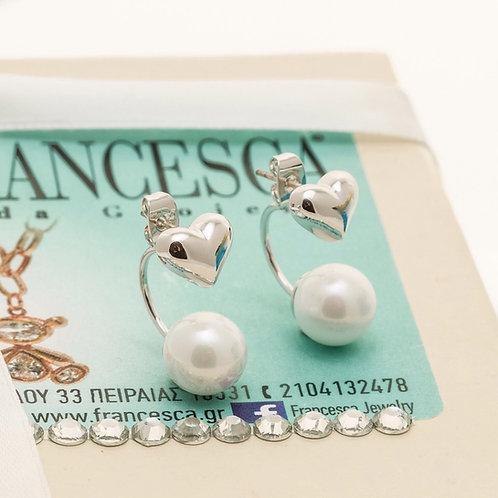 Fe7997 Επάργυρα σκουλαρίκια από ατσάλι, με καρδιές και πέρλες!