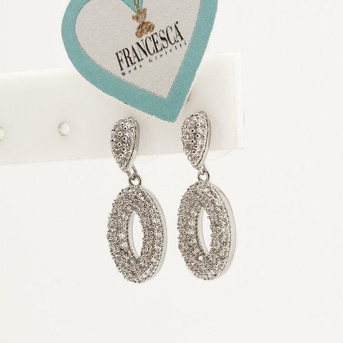 Fe8152 Κρεμαστά σκουλαρίκια επάργυρα σκουλαρίκια με κρυσταλλάκια ύψους 2,2 εκατ!