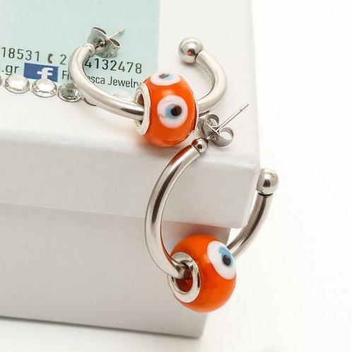 Fe8043 Επάργυροι κρίκοι με 3 εκ.διάμετρο,& πορτοκαλί ροδέλα μάτι