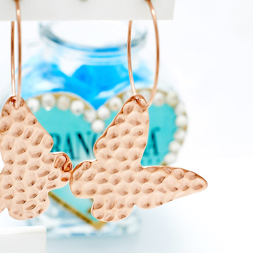 Fe7488 Εντυπωσιακές πεταλούδες σκουλαρίκια σε rose gold απόχρωση!