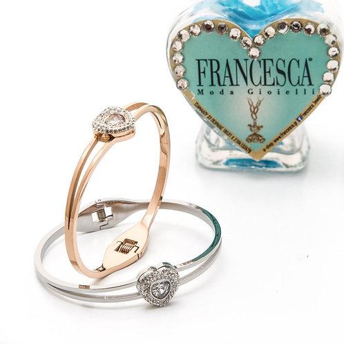 Fb7884 Χειροπέδα καρδιά,σε επάργυρη & rose gold απόχρωση!