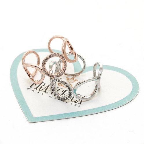 Fr7607 Υπέροχο δαχτυλίδι με κύκλους,σε ασημί & ροζ χρυσό