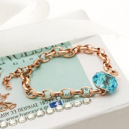 Fb7158 Χειροποίητο βραχιόλι αλυσίδα με γαλάζιο murano