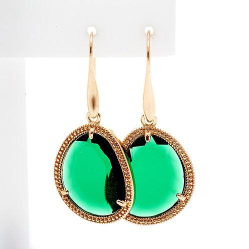 Fe7817 Εντυπωσιακά σκουλαρίκια με πράσινη πέτρα