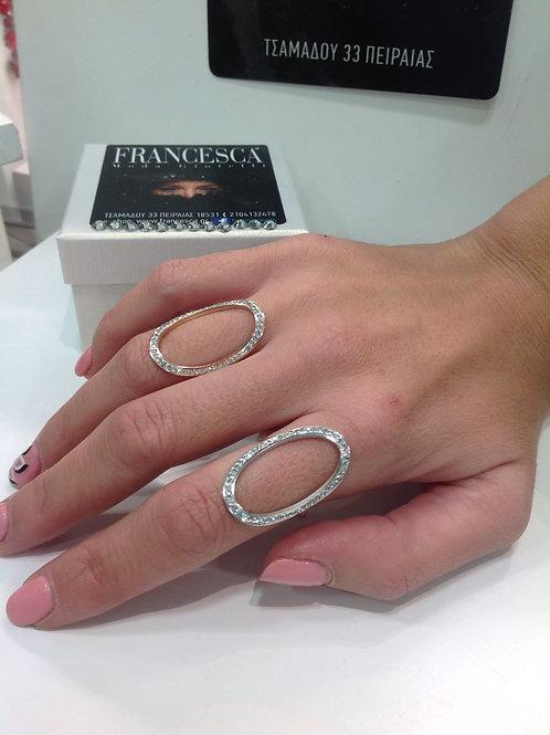 Fr7107 Εντυπωσιακό οβάλ δαχτυλίδι με strass σε επάργυρο & rose gold απόχρωση!