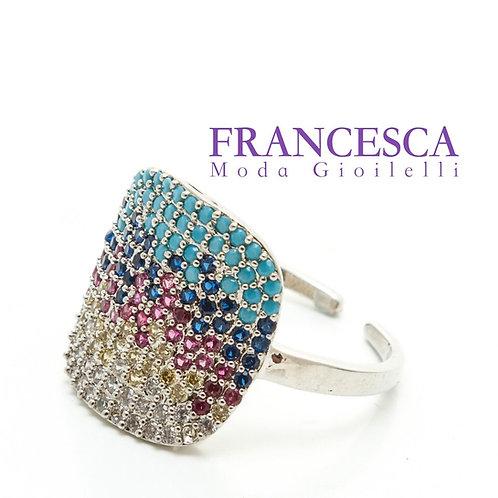 Fr7199 Εντυπωσιακό ατσάλινο δαχτυλίδι,με χρωματιστές πέτρες,σε ασημί χρώμα.