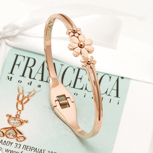 Fb7481 Χειροπέδα με λεπτές μαργαρίτες,σε ροζ χρυσό χρώμα.