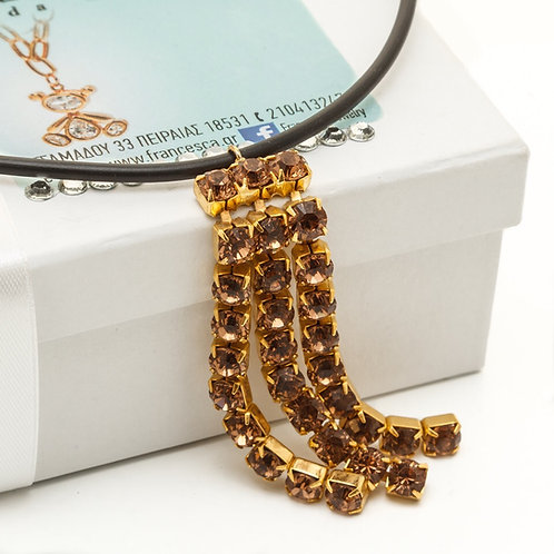 Fn7404 Χειροποίητο κοντό κολιέ καουτσούκ,με υπέροχα κρύσταλλα Exclusive jewelry!