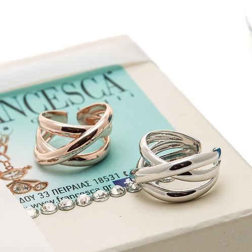 FR7998 Μοντέρνο δαχτυλίδι για όλα τα δάχτυλα,σε επάργυρο και rose gold απόχρωση!