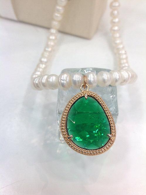 Fn7931 Κολιέ μαργαριτάρι με υπέροχη πράσινη πέτρα